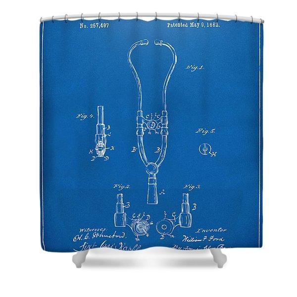 1882 Doctor Stethoscope Patent - Blueprint Shower Curtain