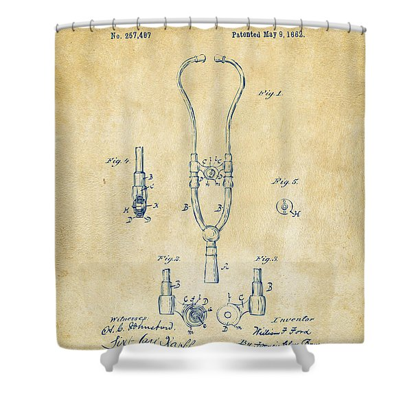 1882 Doctor Stethoscope Patent - Vintage Shower Curtain