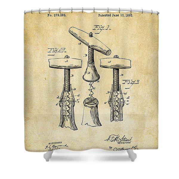 1883 Wine Corckscrew Patent Art - Vintage Black Shower Curtain