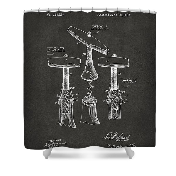 1883 Wine Corckscrew Patent Artwork - Gray Shower Curtain