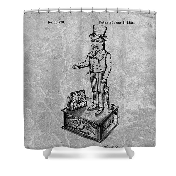 1886 Toy Bank Patent Charcoal Shower Curtain