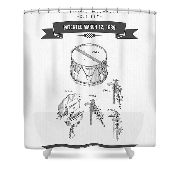 1889 Snare Drum Patent Drawing Shower Curtain