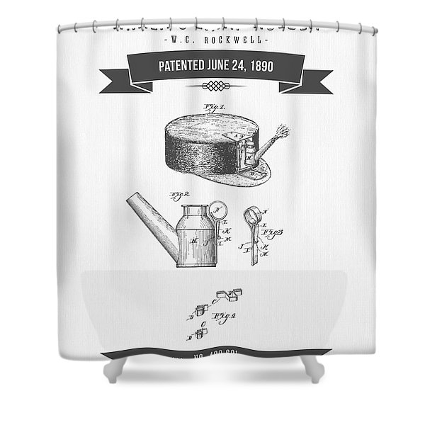 1890 Miners Lamp Holder Patent Drawing - Retro Gray Shower Curtain