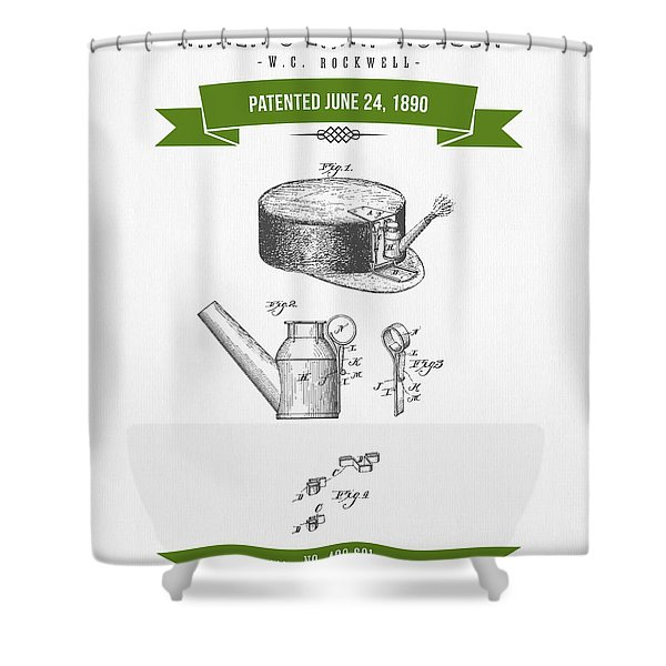 1890 Miners Lamp Holder Patent Drawing - Retro Green Shower Curtain