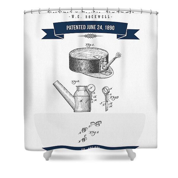 1890 Miners Lamp Holder Patent Drawing - Retro Navy Blue Shower Curtain