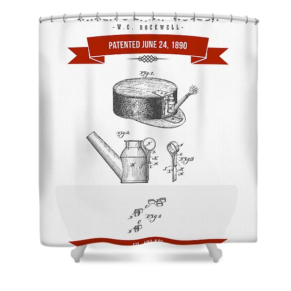 1890 Miners Lamp Holder Patent Drawing - Retro Red Shower Curtain