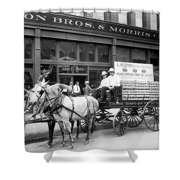 1890s Mule Drawn Fruit Delivery Wagon Shower Curtain