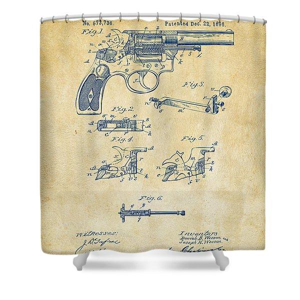 1896 Wesson Safety Device Revolver Patent Artwork - Vintage Shower Curtain