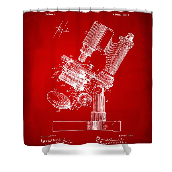 1899 Microscope Patent Red Shower Curtain