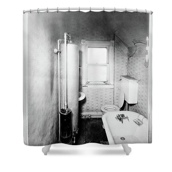 1900s Gas Water Heater In Narrow Shower Curtain
