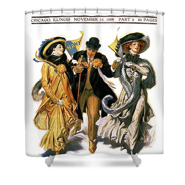 1900s Stylish Man With Two Women Shower Curtain