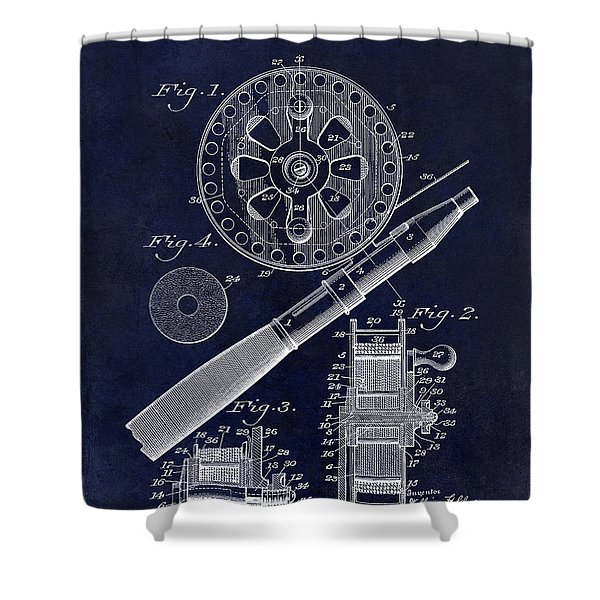 1906 Fishing Reel Patent Drawing Blue Shower Curtain