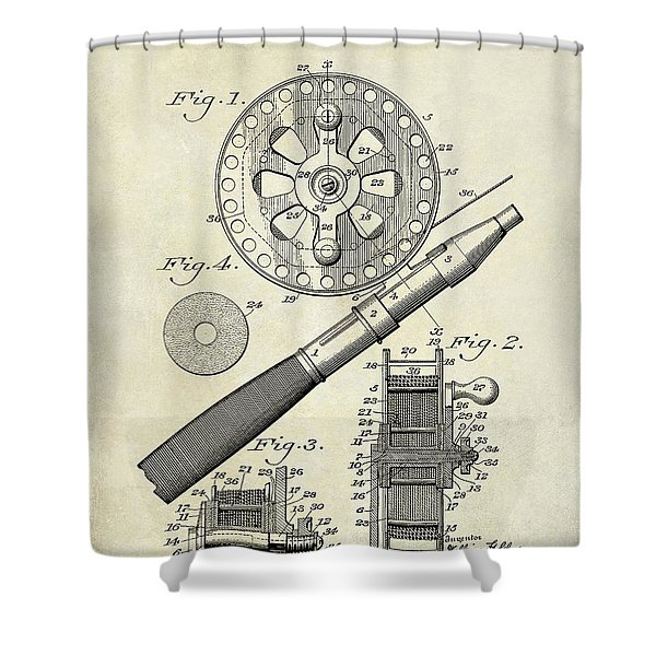 1906 Fishing Reel Patent Drawing Shower Curtain