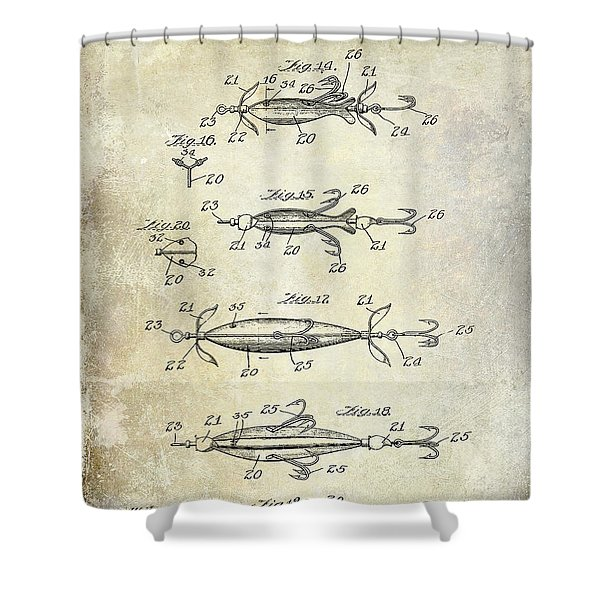 1907 Fishing Lure Patent Shower Curtain