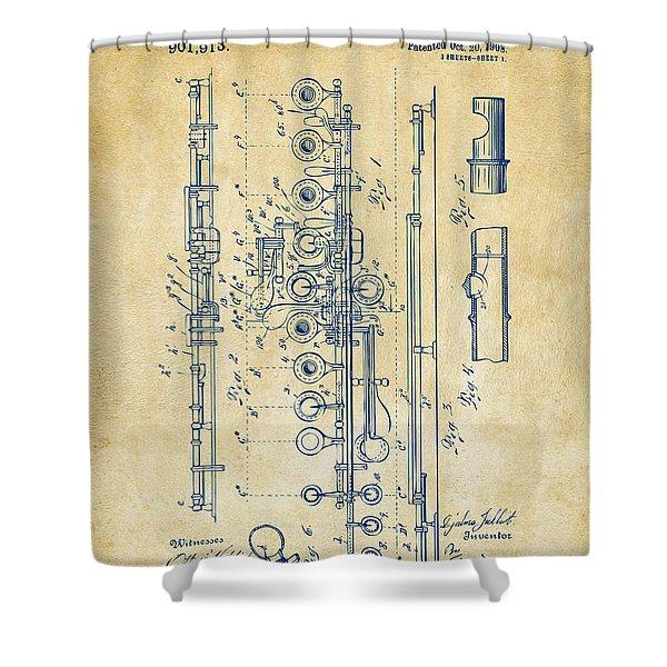 1908 Flute Patent - Vintage Shower Curtain