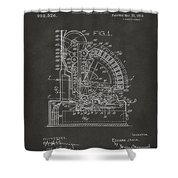 1910 Cash Register Patent Gray Shower Curtain