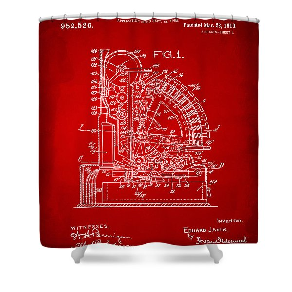 1910 Cash Register Patent Red Shower Curtain