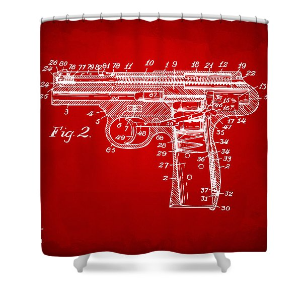 1911 Automatic Firearm Patent Minimal - Red Shower Curtain