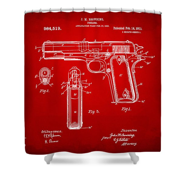 1911 Colt 45 Browning Firearm Patent Artwork Red Shower Curtain