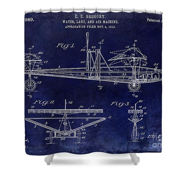 1914 Water Land And Air Machine Patent Blue Shower Curtain