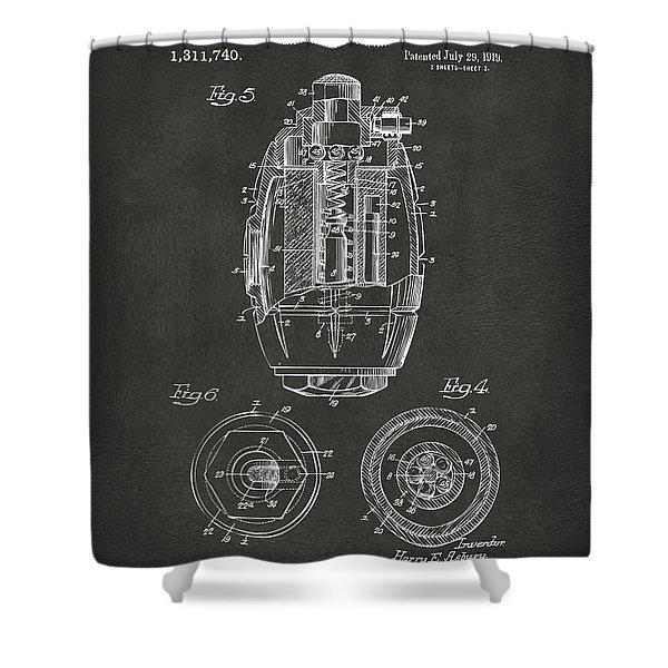 1919 Hand Grenade Patent Artwork - Gray Shower Curtain