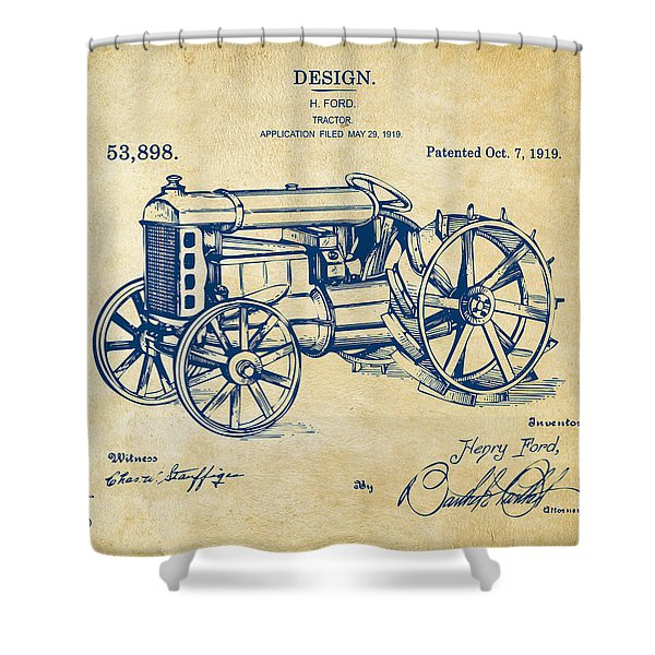 1919 Henry Ford Tractor Patent Vintage Shower Curtain
