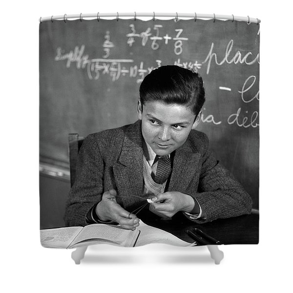 1920s 1930s Boy At Desk In Classroom Shower Curtain