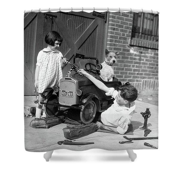1920s 1930s Two Children Boy Girl Shower Curtain