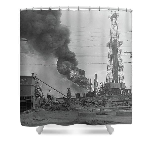 1920s Oil Field Fire Column Of Black Shower Curtain