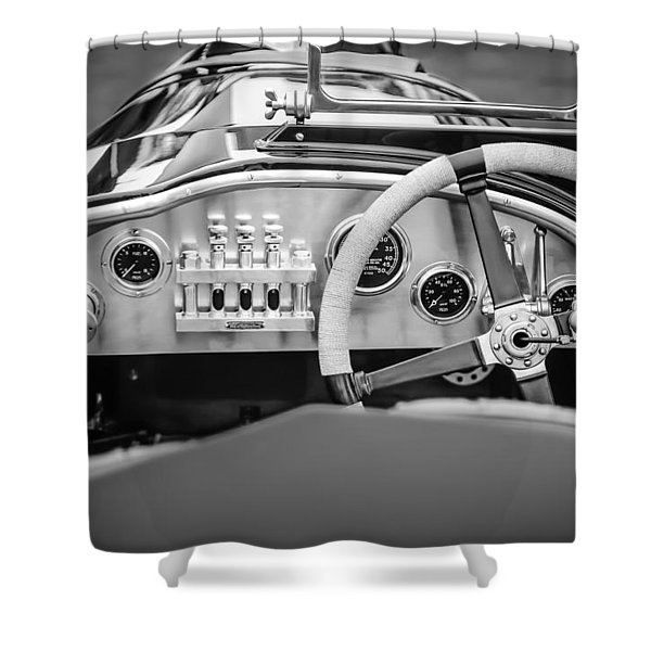 1925 Aston Martin 16 Valve Twin Cam Grand Prix Steering Wheel -0790bw Shower Curtain