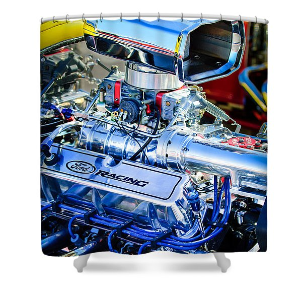 1927 Ford T-bucket Engine Shower Curtain
