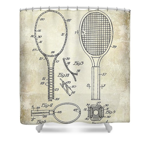 1927 Tennis Racket Patent Drawing  Shower Curtain