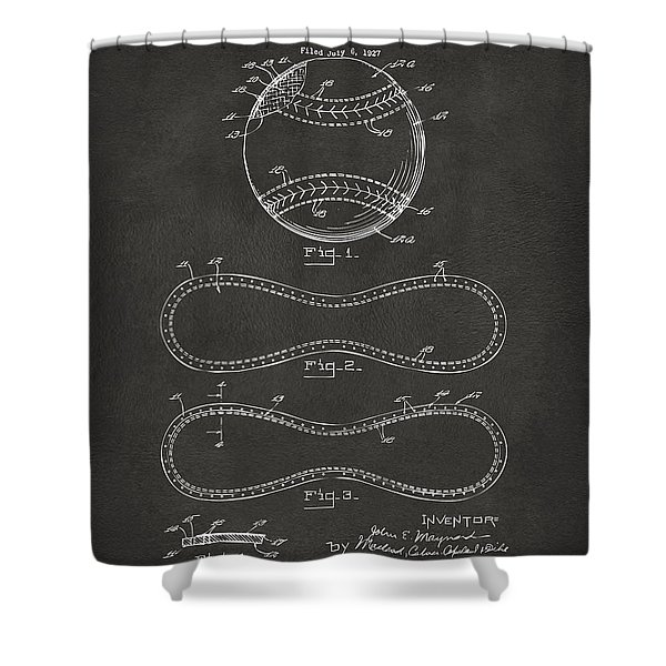 1928 Baseball Patent Artwork - Gray Shower Curtain