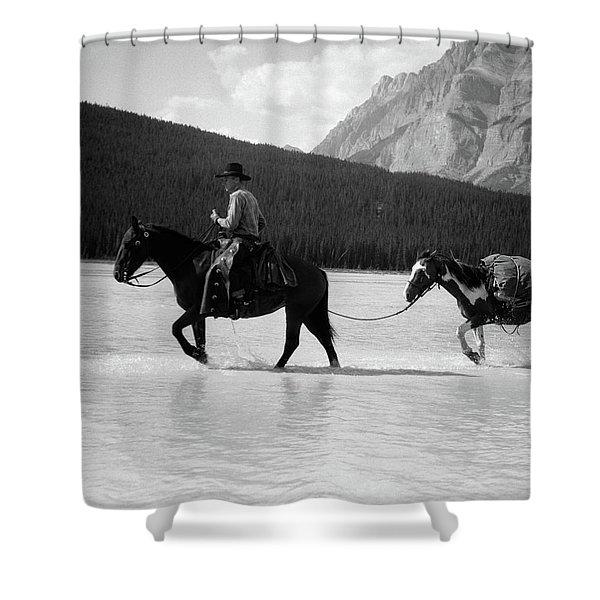 1930s 1940s Cowboy On Horseback Shower Curtain