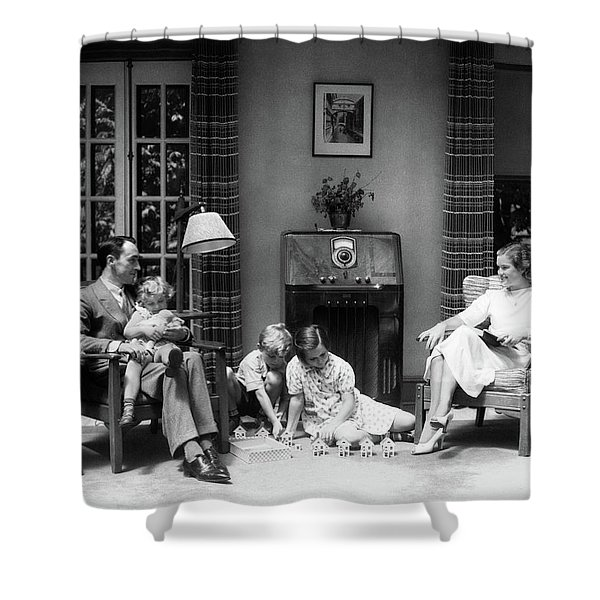 1930s 1940s Family In Living Room Shower Curtain