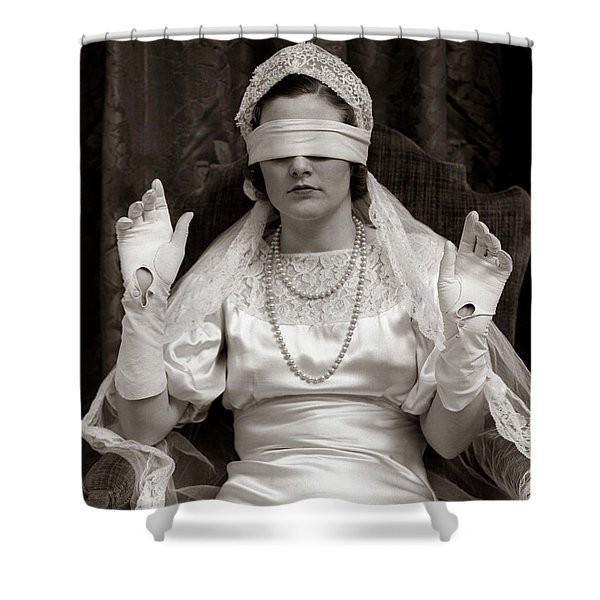 1930s Bride Wearing Blindfold Shower Curtain