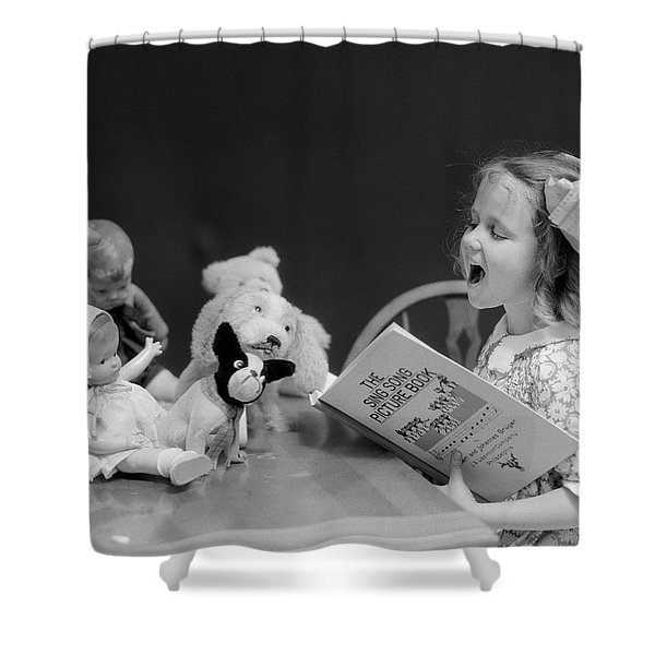 1930s Enthusiastic Little Girl Big Bow Shower Curtain