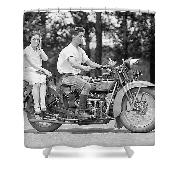 1930s Motorcycle Touring Shower Curtain