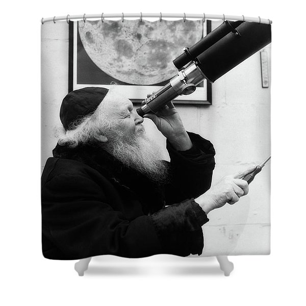 1930s Old Astronomer White Hair Shower Curtain