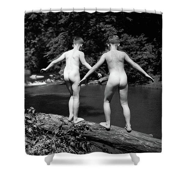 1930s Rear View Pair Naked Skinny- Shower Curtain