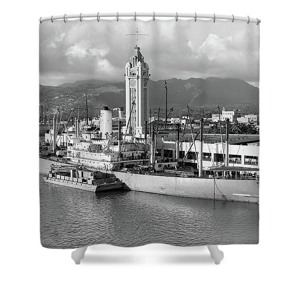 1930s Ship Freighter At Dock By Aloha Shower Curtain