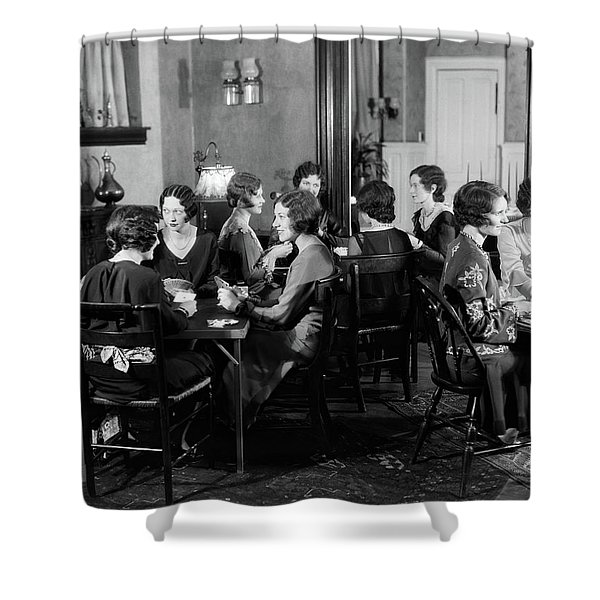 1930s Smiling Group Of 12 Young Women Shower Curtain