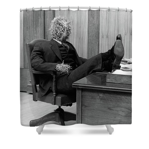1930s Straw Man In Suit & Tie Seated Shower Curtain