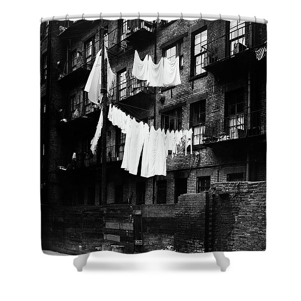 1930s Tenement Building With Laundry Shower Curtain