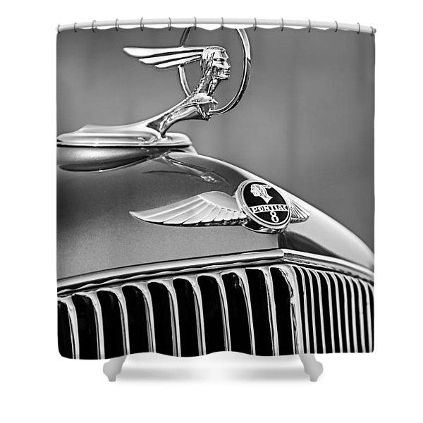 1933 Pontiac Hood Ornament - Emblem -0385bw Shower Curtain