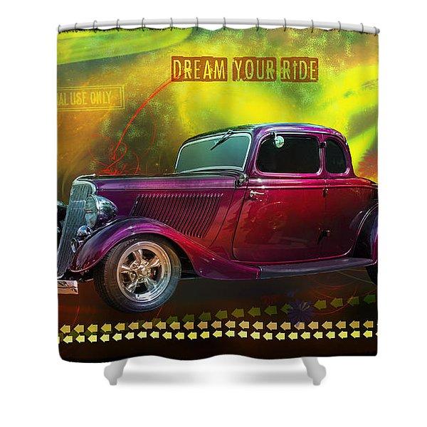 1934 Ford 5 Window Gennie Shower Curtain