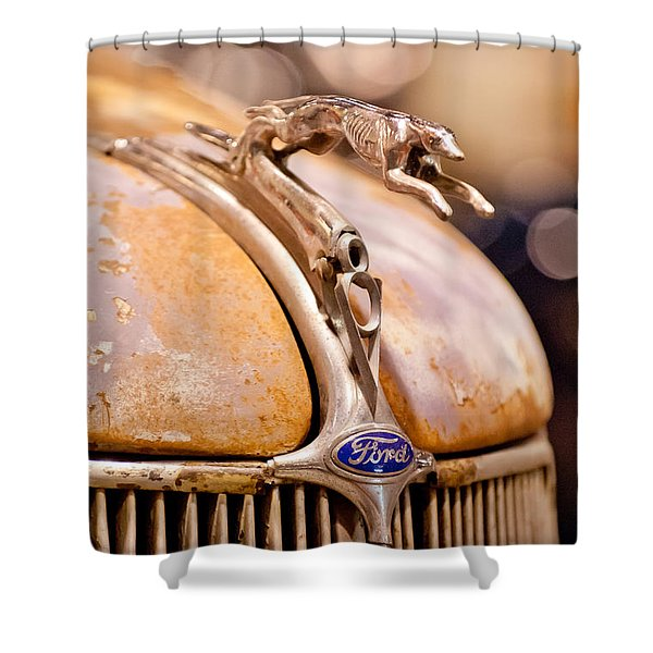 1936 Ford Cabriolet Hood Ornament Shower Curtain