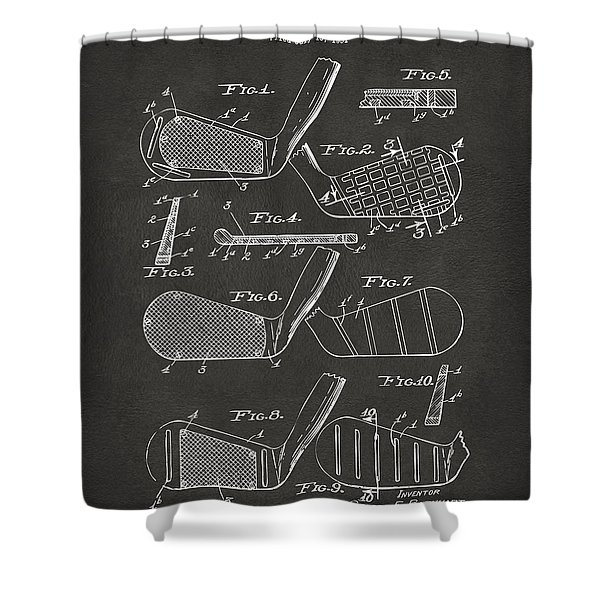 1936 Golf Club Patent Artwork - Gray Shower Curtain