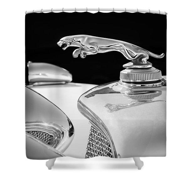 1937 Jaguar Prototype Hood Ornament -386bw55 Shower Curtain