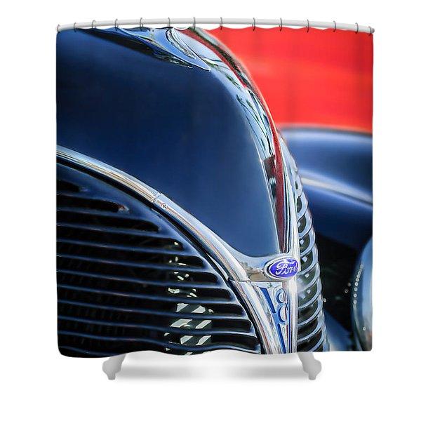 1938 Ford Hood Ornament - Grille Emblem -0089c Shower Curtain